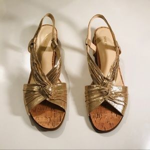 Nine West Gold Slingshot Sandals